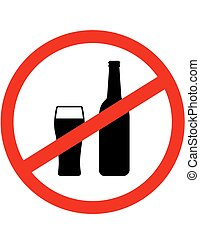 sign stop alcohol with beer bottle and glass