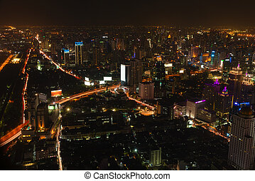 Beautiful Night Time City Scape of Bangkok, Thailand