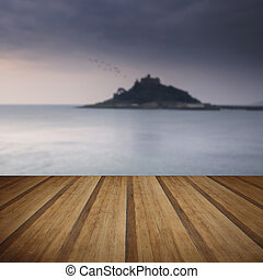 St Michaels Mount Bay Marazion sunrise long exposure with...