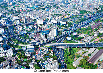 Overlooking View of a Complex Highway Interchange, Snaking...