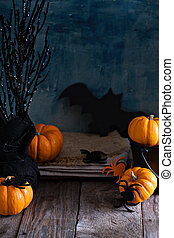 Little pumpkins on Halloween table - Little pumpkins on...