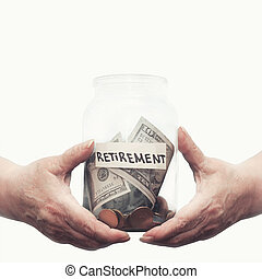 Elderly hands holding glass jar with money on a pension closeup