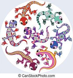 decorative lizards - decorative cartoon lizards isolated on...