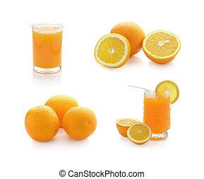 Orange juice and slices of orange isolated on white...