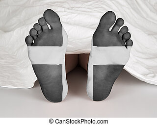 Dead body under a white sheet, suicide, murder or natural...