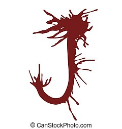 Dripping blood ink fonts the letter J.