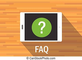 faq frequently asked question tab mobile flat vector