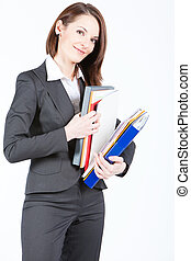 business woman holding documents, searching file - business...