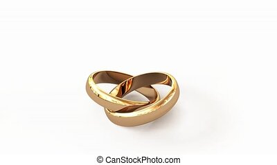 wedding rings - 10 second video, the camera flies Golden...