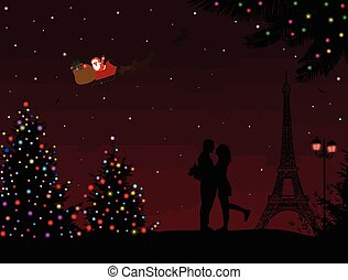 Lovers in Paris, with Santa's sleigh