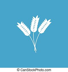 Cereals icon, white simple image isolated on blue background