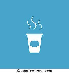 Coffee to go icon, white simple image isolated on blue...
