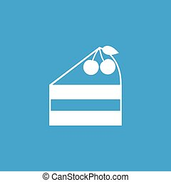 Cake piece icon, white simple image isolated on blue...