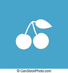 Cherry icon, white simple image isolated on blue background