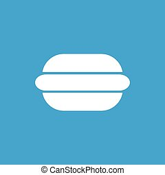 Hot dog icon, white simple image isolated on blue background