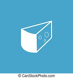 Cheese icon, white simple image isolated on blue background