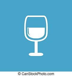 Wine glass icon, white simple image isolated on blue...