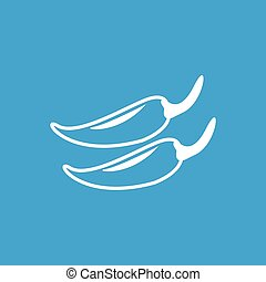 Chili pepper icon, white simple image isolated on blue...
