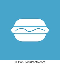 Hotdog with sauce icon, white simple image isolated on blue...