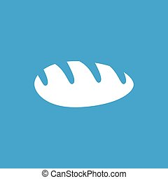 Long loaf icon, white simple image isolated on blue...