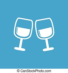 2 wine glasses icon, white simple image isolated on blue...