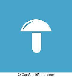 Mushroom icon, white simple image isolated on blue...