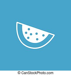 Watermelon slice icon, white simple image isolated on blue...