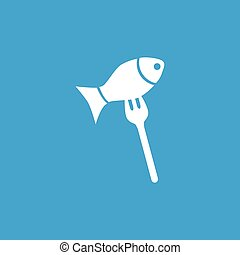 Fish on fork icon, white simple image isolated on blue...