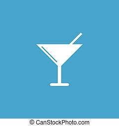 Martini glass icon, white simple image isolated on blue...