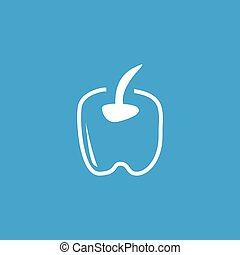 Apple contour icon, white simple image isolated on blue...