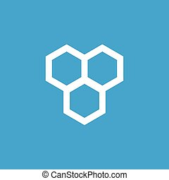 Honeycomb icon, white simple image isolated on blue...