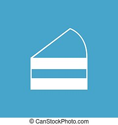 Cake slice icon, white simple image isolated on blue...