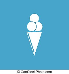 Ice-cream cone icon, white simple image isolated on blue...