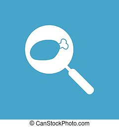 Chicken leg on pan icon, white simple image isolated on blue...