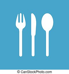 Table utensil icon, white simple image isolated on blue...