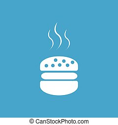 Burger icon, white simple image isolated on blue background
