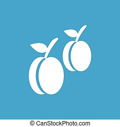 Plum icon, white simple image isolated on blue background