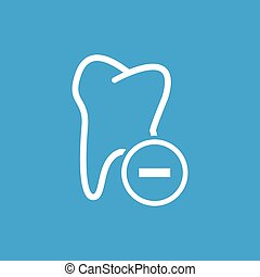 Remove tooth icon, white simple image isolated on blue...