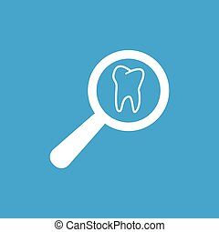 Tooth checkup icon, white simple image isolated on blue...