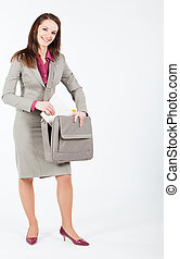 business woman taking documents from case - business woman...
