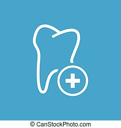 Add tooth icon, white simple image isolated on blue...