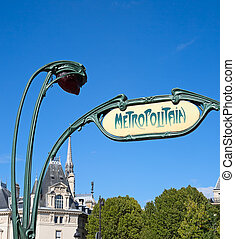Metropolitain - Famous Paris underground sign on the...