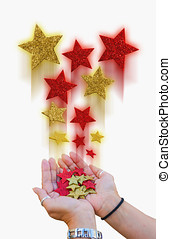 Magical stars white - two hands holding a bunch of magical...