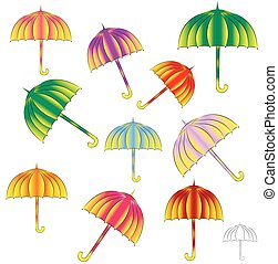 brightly colored umbrellas