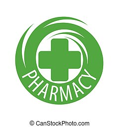 Round abstract vector logo for pharmaceutical companies