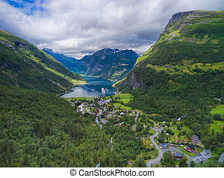 Geiranger fjord in Norway, popular tourist destination