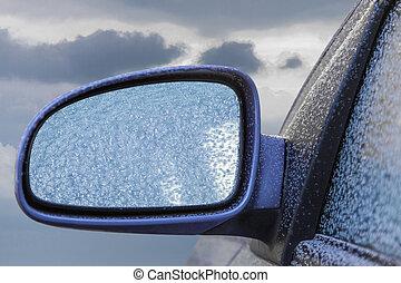 Frozen Car Rearview Mirror - Car rearview mirror frozen...