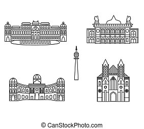 Vienna black silhouette city skyline buildings vector icon -...