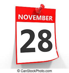 28 november calendar sheet with red pin. - 28 november...