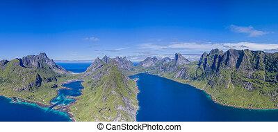 Lofoten from air - Fjords on beautiful Lofoten islands in...